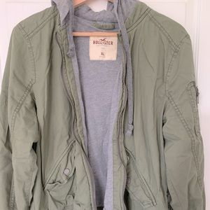Hollister Cotton Khaki jacket with hoodie